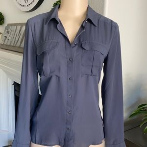 H&M Long Sleeve Gray Button Blouse